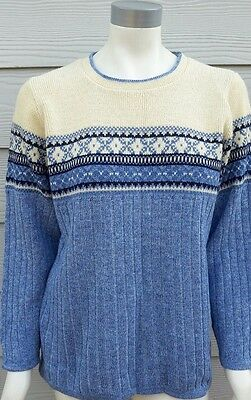 Motherhood Maternity Small Blue Yellow Fair Isle Crewneck Sweater Long Slv