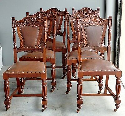 ANTIQUE set 6 chairs GOTHIC Edwardian c1900 hand carved shell back LEATHER a/f
