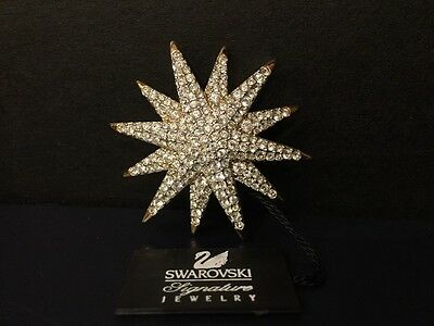 Swarovski Signed Starburst Pin Brooch NEW With Tag ~ RETIRED