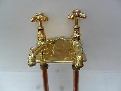 Brass Antique Reclaimed Original Wall Mounted French Taps Very Old Taps