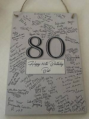 Signature Frame Guest Book Plaque Birthday Men's 40th Gift Wooden Sign & Pen