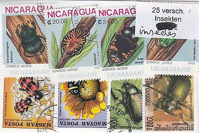 Insectes 25 Timbres Tous Differents