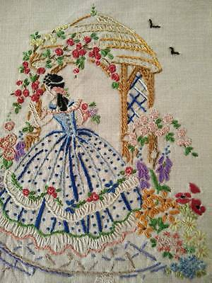 Stunning Vintage Heavily Hand embroidered Crinoline Lady panel