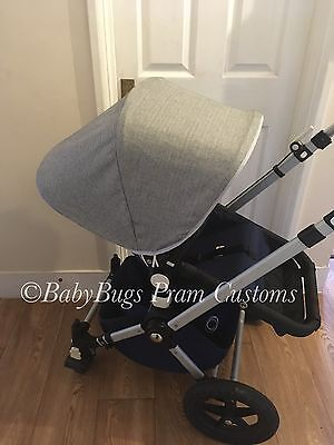 Custom tweed/suiting Fabric  Hood Canopy For Bugaboo Cameleon 1, 2, 3 Grey