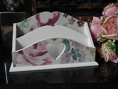 Shabby Chic Wooden Letter Rack Post Holder Organizer White With Floral Pattern