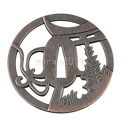 Flower Tree Zinc Alloy Tsuba For Japanese Samurai Katana Wakizashi Tanto Sword