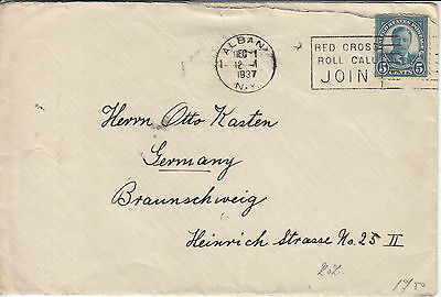 USA: Cover, Albany to Braunschweig, Germany, with 5 Greetings stamps, 1 Dec 1937