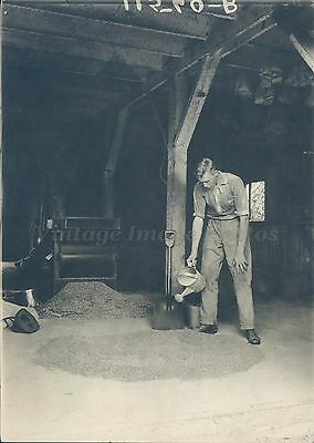 1930 Photo Young Man Worker Watering Can Old Building Historic Vintage Rare