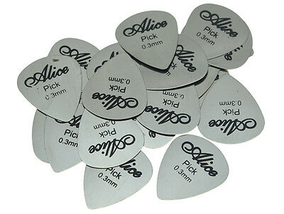 Pack of 30 Alice Guitar Picks Stainless Steel Metal Plectrums 0.3mm Thickness