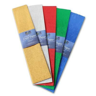 Metallic Crepe Paper 50cm x 2.5m Assorted Gold Silver,Red,Blue,Green BI2539