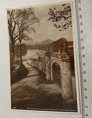 "Vintage 'RP' Photograph Postcard "" The Eildon hills and Dryburgh Orchard Gates"""