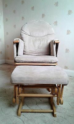 Habebe Nursing Chair with Footstool - Beige/Natural wood - Reclining, Gliding