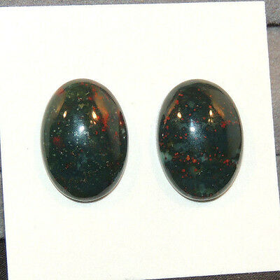 Bloodstone 13x18mm Cabochon with 5mm dome from India set of 2 (12509)