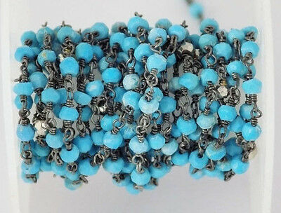 5 Feet Turquoise Silver Pyrite Black Oxidized Approx 3-3.5mm Rosary Beads Chain