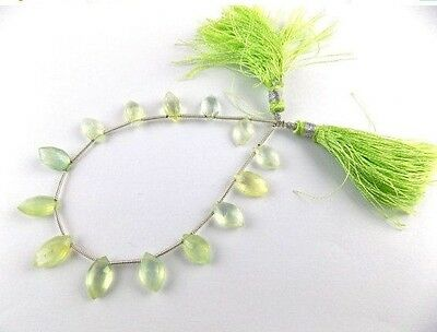 "1 Strand Natural Prehnite Gemstone Marquise 5x10-5.5x11mm Briolette Bead 7"" Long"