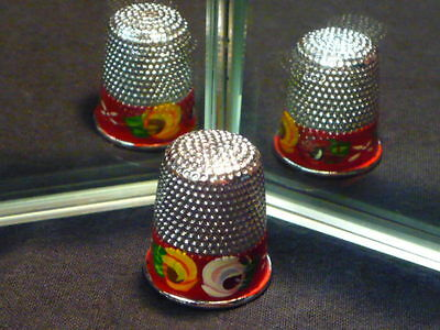 Canal Barge Art Roses Metal Thimble