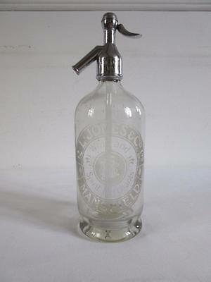 Vintage Collectable R L Jones Mansfield Glass & Chrome Top Soda Water Syphon