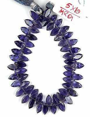 """1 Strand Natural Blue Iolite Marquise 5x10mm Normal Cut Beads Briolette 8"""" Long"""