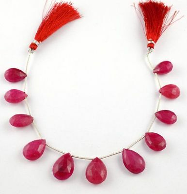 "1 Strand Dyed Ruby Briolette Pear Shape 10x15-13x18mm Gemstone 8"" Long Beads"