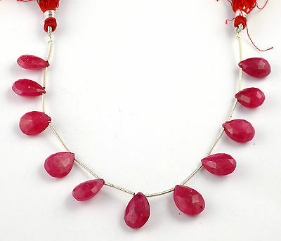 "1 Strand Dyed Ruby Briolette Pear Shape Gemstone 8"" Long 10x14-12x16mm Beads"