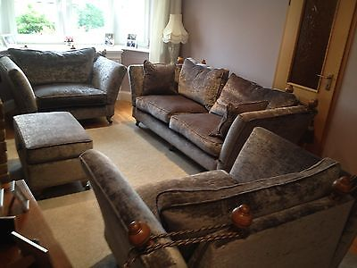 Unused Grey Crushed Velvet large 4 piece suite, sofa, 2 large chairs & footstool