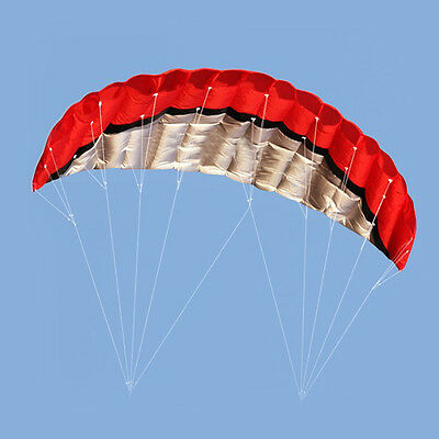 Outdoor 2.5m Huge Parafoil Parachute Stunt Dual Line Sport Beach Kite Red