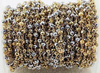 5 Feet Gold Pyrite & Silver Pyrite Hydro Seed Beads Rosary Style Beaded Chain