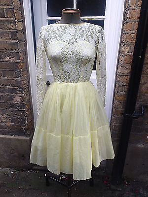 Vintage Yellow Dress With Lace Top And Tulle Underskirt Size S