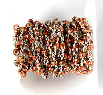 5 Feet Copper Pyrite Faceted 3.5-4mm Beaded 925 Silver Plated Rosary Chain