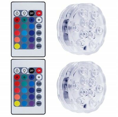 2pc Submersible LED Lights Pool Pond Vase Waterproof Underwater Remote RGB Color