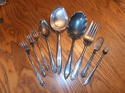 Antique Vintage 9 Pc Pretty Silverplate Flatware Serving Pieces Mixed Lot