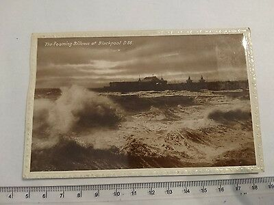 """Vintage 'RP' Photograph Postcard """"The Foaming Billows At Blackpool"""""""