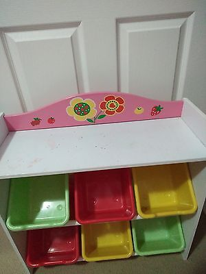 Toy Organiser / Storage Unit with 6 plastic tubs