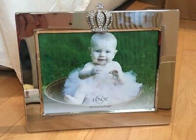 Lenox Princess Prince Crown Silver 5x7 Baby Picture Frame PERSONALIZABLE