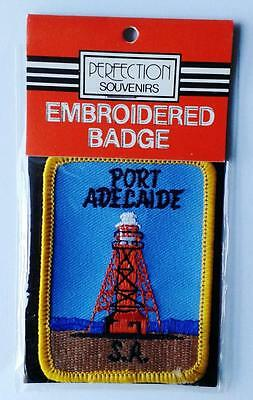 PORT ADELAIDE LIGHTHOUSE vintage souvenir woven sew on patch cloth badge