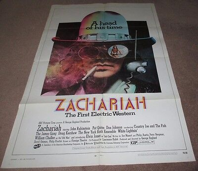 Zachariah - Huge Original Movie Poster 1970 V.rare Date Stamped