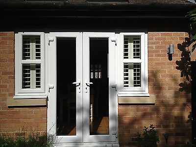 White UPVC French Patio Doors With Side Windows