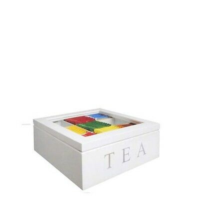9 Compartments Wooden Tea Storage Box Container (White)