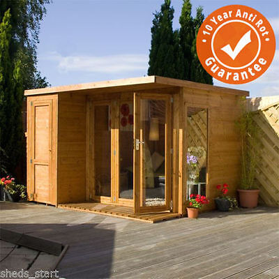 10x8 Wooden Contemporary Shiplap T&G Summerhouse with Side Shed & Felt