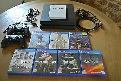 Black Playstation 4 - with 2 Controllers and Games