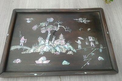 Antique Chinese 19Th Century  Huanghuali Wooden Mop Inlaid Tray