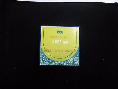 Burma Myanmar Gold 1991 1MU Proof with box and certificate