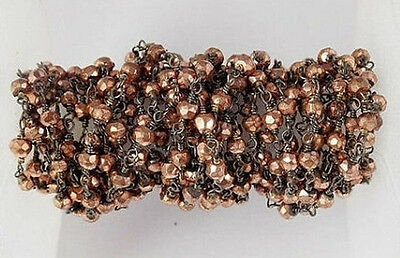 AAA Finest 10 Feet Copper Pyrite Rondelle Faceted Black Wire Rosary Beaded Chain