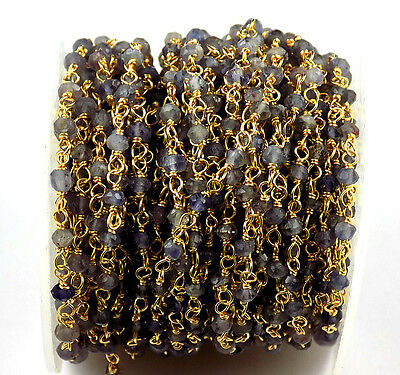 10 Feet Iolite Gemstone Faceted Rosary Beaded Chain 24k Gold Plated 3-3.5mm
