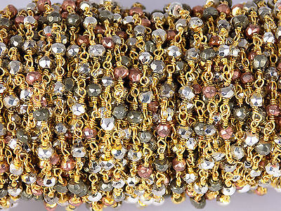 10 Feet Mix Pyrite Rondelle 3.5-4mm 24k Gold Plated Rosary Faceted Beaded Chain