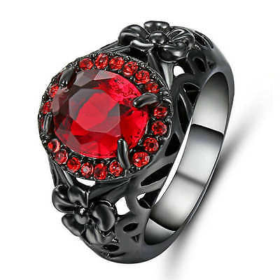 Jewellry Size 9 Womens Red Ruby black Rhodium Plated Engagement Wedding Ring