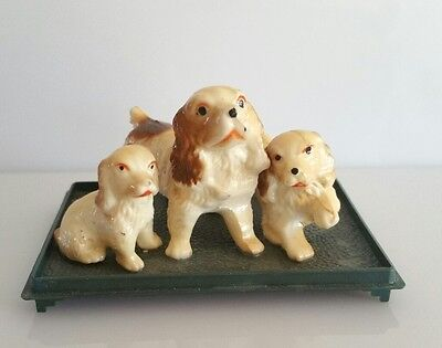 Miniature dog figurines Cavalier King Charles Spaniel dog set