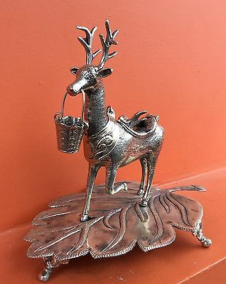 Incense Burner deer spanish Colonial Style Solid Silver alpacca 1850s