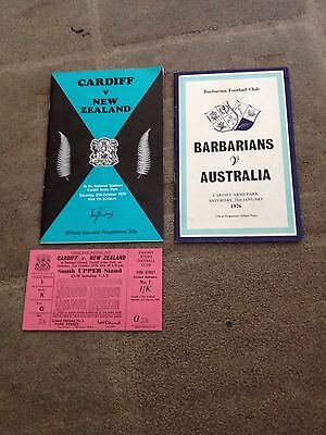 Rugby Union Programmes Cardiff, New Zealand All Blacks, Barbarians, Australia