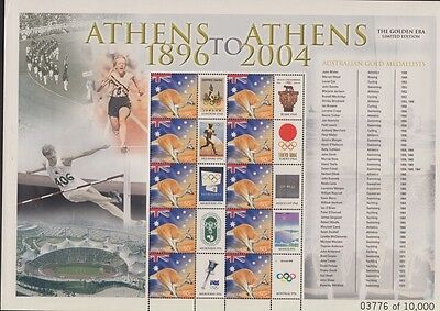 Athens to Athens 1896 to 2004 sheet mint